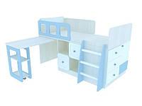Двухъярусная кровать ZO-206 + ZO-854 ZOO Слон (голубой)