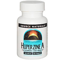 Витамины для мозга, Huperzine A, Source Naturals, 100 mcg, 120 таблеток