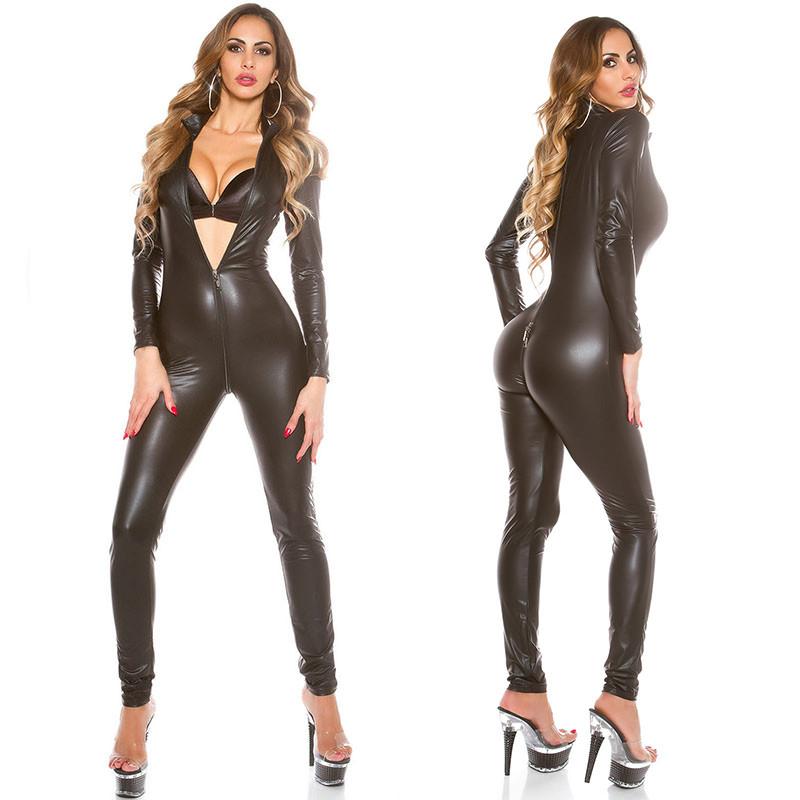 Виниловый комбинезон Hustler Vinyl облегающий костюм черный эротический на молнии