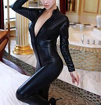 Виниловый комбинезон Hustler Vinyl облегающий костюм черный эротический на молнии, фото 3