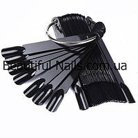 НОВИНКА!!!! Веер на кольце - черный цвет (50 типсов), фото 1