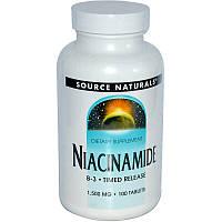 Ниацинамид (В3) 1500 мг, Source Naturals, 100 таб.