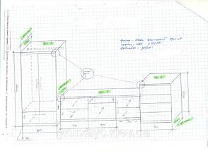 Проект и размеры мебели были подготовлены в начале как эскиз в карандаше.