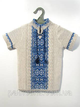 Вязаная вышиванка для мальчика с коротким рукавом | В'язана вишиванка для хлопчика з коротким рукавом, фото 2