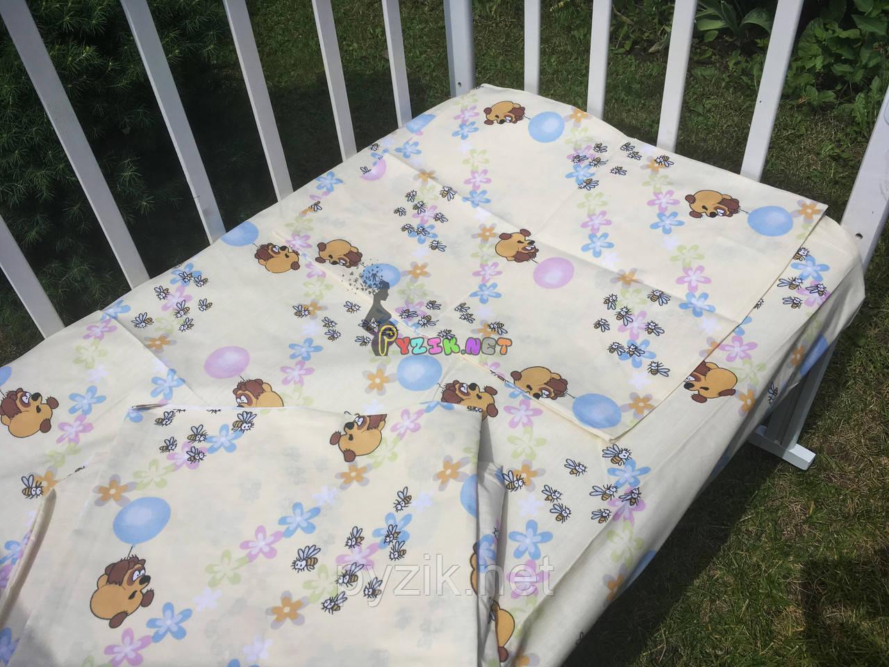 Постельный набор в детскую кроватку (3 предмета) Винни Пух Бежевый
