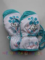 Детские зимние термоварежки для девочки 2-х лет бирюзовые