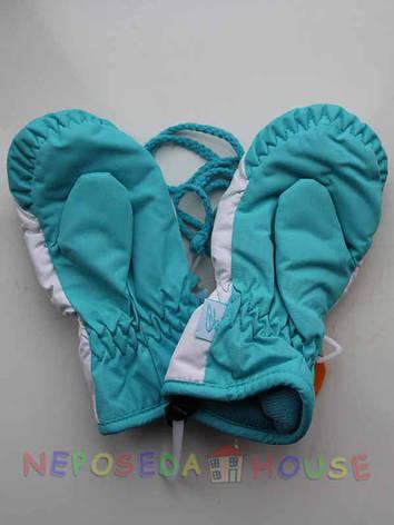 Детские зимние непромокаемые термоварежки для девочки 2-4 года бирюзовые, фото 2