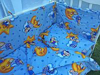"""Постельный набор в детскую кроватку (8 предметов) Premium """"Мишки на луне"""" синий, фото 1"""