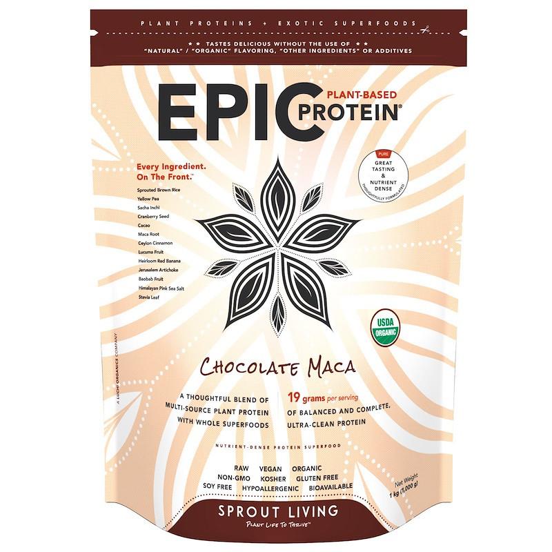 Sprout Living, Органический белок Epic Protein, шоколад, мака, 2,2 фунта (1,000 г)