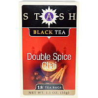 Stash Tea, Черный чай высшего сорта, чай с двойным содержанием пряностей, 18 чайных пакетиков, 1,1 унции (33 г)