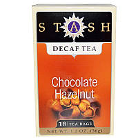 Stash Tea, Чай высшего сорта без кофеина, шоколад и лесной орех, 18 чайных пакетиков, 1,2 унции (36 г)