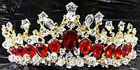 Впечатляющая тиара для невест с кристаллами. Выразительная свадебная бижутерия оптом. 64
