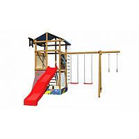 Детская игровая башня со скалолазной стенкой и гладиаторской сеткой