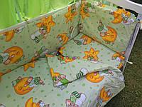 """Постельный набор в детскую кроватку (8 предметов) Premium """"Мишки на луне"""" зеленый, фото 1"""