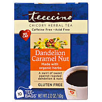 Травяной чай со вкусом кофе и ореха, Chicory Herbal Tea, Teeccino, 10 пакетов, 60 г