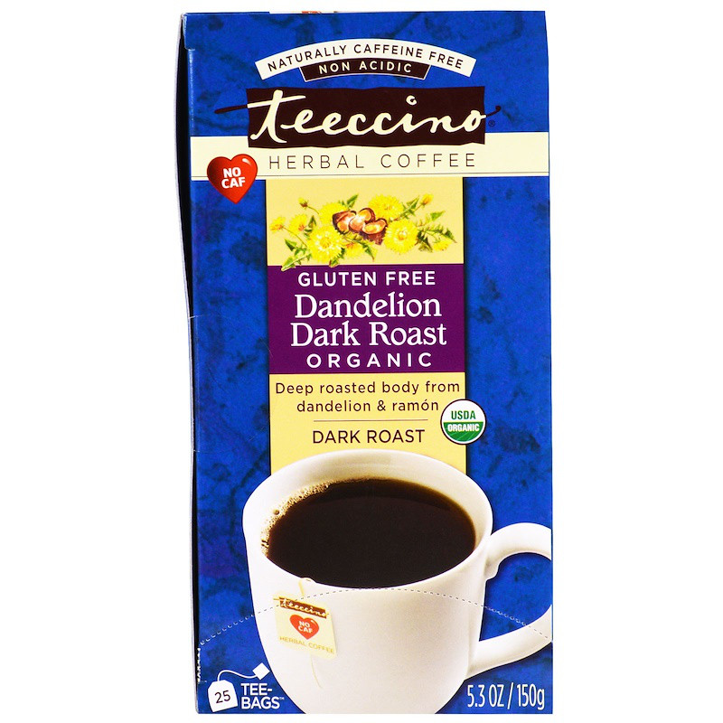 Черный травяной кофе без кофеина, Dark Roast, Dandelion, Teeccino, 25 пакетов, 150 г