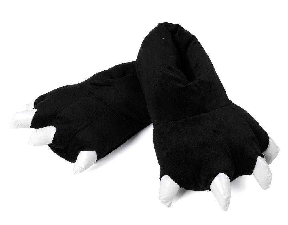 Черные теплые тапочки с белыми когтями в виде лапок