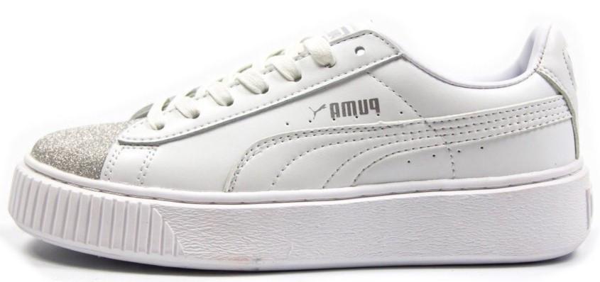 """Женские кроссовки Puma Basket """"White"""" (Пума Баскет) белые"""