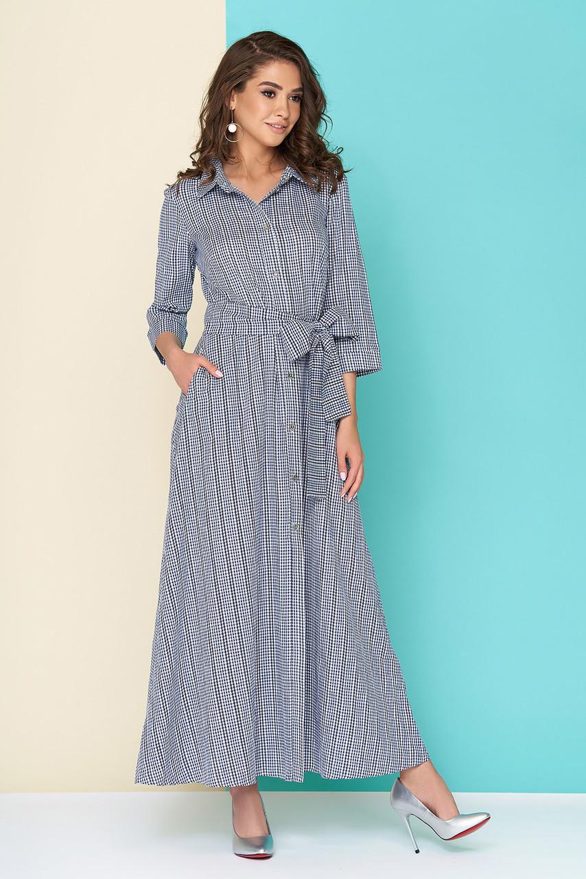 Летнее платье рубашка в пол полуприталенное в клетку синее