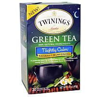 Twinings, Зелёный чай, Nightly Calm, От природы без кофеина, 20 пакетиков, 40 г