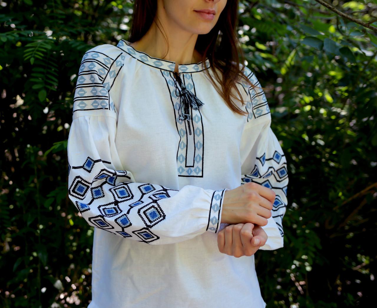 Жіноча Вишиванка на Льоні З Етнічним Орнаментом Машинної Роботи — в  Категории