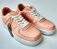Кожаные женские кроссовки Restime 36-41 размеры, айфорсы, розовые, на высокой подошве, air force, стильные.