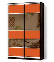 Шкаф-купе Классик двухдверный с фасадами из цветного стекла и тонированных зеркал (Зебрано темный (116-116))