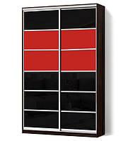 Шкаф-купе Классик двухдверный с фасадами из цветного стекла и тонированных зеркал (Зебрано темный (103))