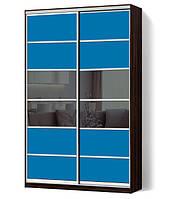Шкаф-купе Классик двухдверный с фасадами из цветного стекла и тонированных зеркал (Зебрано темный (114-114))