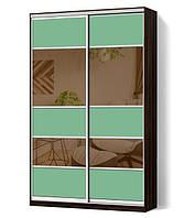 Шкаф-купе Классик двухдверный с фасадами из цветного стекла и тонированных зеркал (Зебрано темный (115-115))