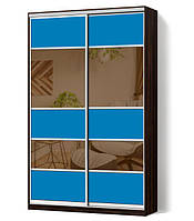 Шкаф-купе Классик двухдверный с фасадами из цветного стекла и тонированных зеркал (Зебрано темный (117-117))