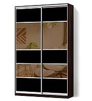 Шкаф-купе Классик двухдверный с фасадами из цветного стекла и тонированных зеркал (Зебрано темный (127))