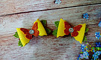 """Заколки-уточки детские """"Бантики с бабочкой"""", фото 1"""