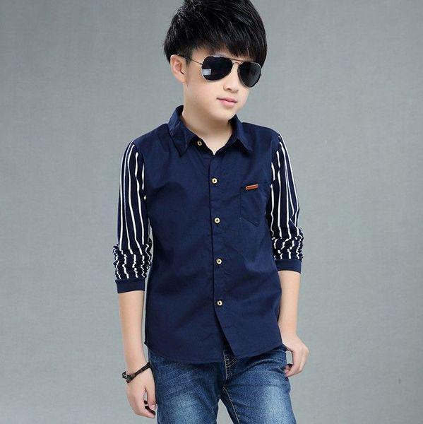 Рубашка для мальчика стильная 8-12 лет ( синяя ) код: 16620