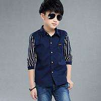 Рубашка для мальчика стильная 8-12 лет ( синяя ) код: 16620 , фото 1