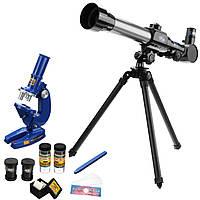 2в1комплектдетейастрономический телескоп + микроскоп детские образовательные науки игрушка 100X 200X 450X