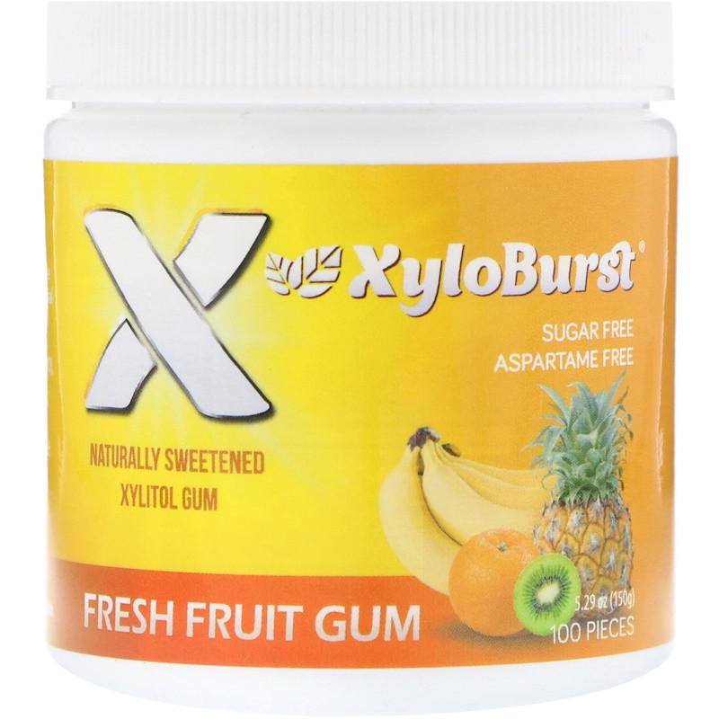 Xyloburst, Жевательная резинка с ксилитолом, фруктовый вкус, 5,29 унции (150 г), 100 штук.