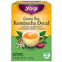 Комбуча (чайный гриб),  Green Tea Decaf Kombucha, Yogi Tea, 16 пакетов, 32 г
