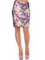 Облегающая женская юбка в цветки (размеры S, M, XL), фото 1
