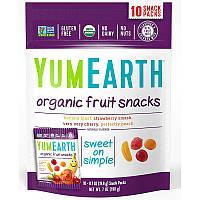 Фруктовый снэк, банан, вишня, персик и клубника, Fruit Snacks, YumEarth, 10 пакетиков по 17,6 г