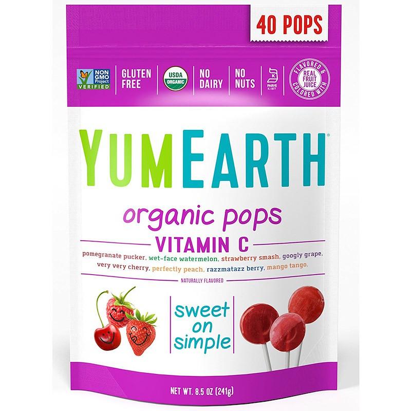 Леденцы с разными фруктовыми вкусами, Pops, YumEarth, 40 шт