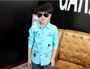 Рубашка для мальчика оригинальный принт код 16001 (голубая)