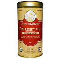 """Zhena's Gypsy Tea, Чай масала """"Огненный свет"""", травяной красный чай, без кофеина, 22 чайных пакетика, 1,55 унции (44 г)"""