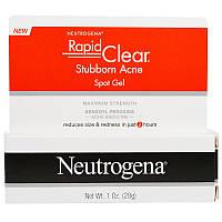 """Neutrogena, """"Быстрая чистка"""", гель для точечного нанесения от застарелых прыщей, сильнодействующий, 1 унция (28 г)"""