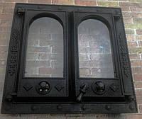 """Дверца портал чугунный для камина  стекло """" Прибалтика"""" 550*550 мм (вес - 30 кг)"""