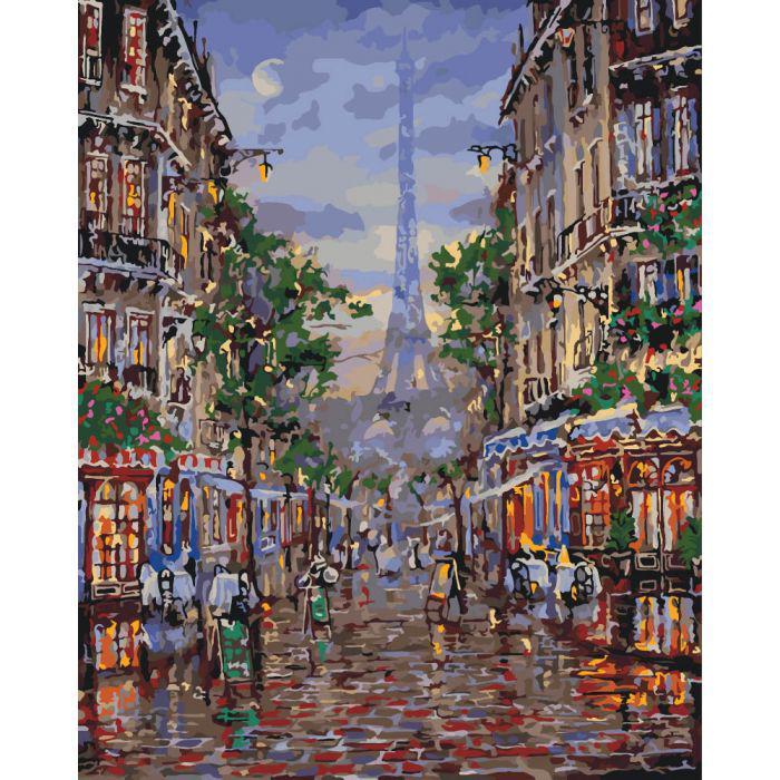 Раскрашивание по номерам Улицами вечернего Парижа (KHO3516) Идейка 40 х 50 см (без коробки)