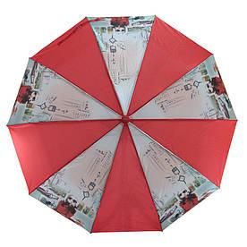 Зонт складной автомат Красный с девушкой