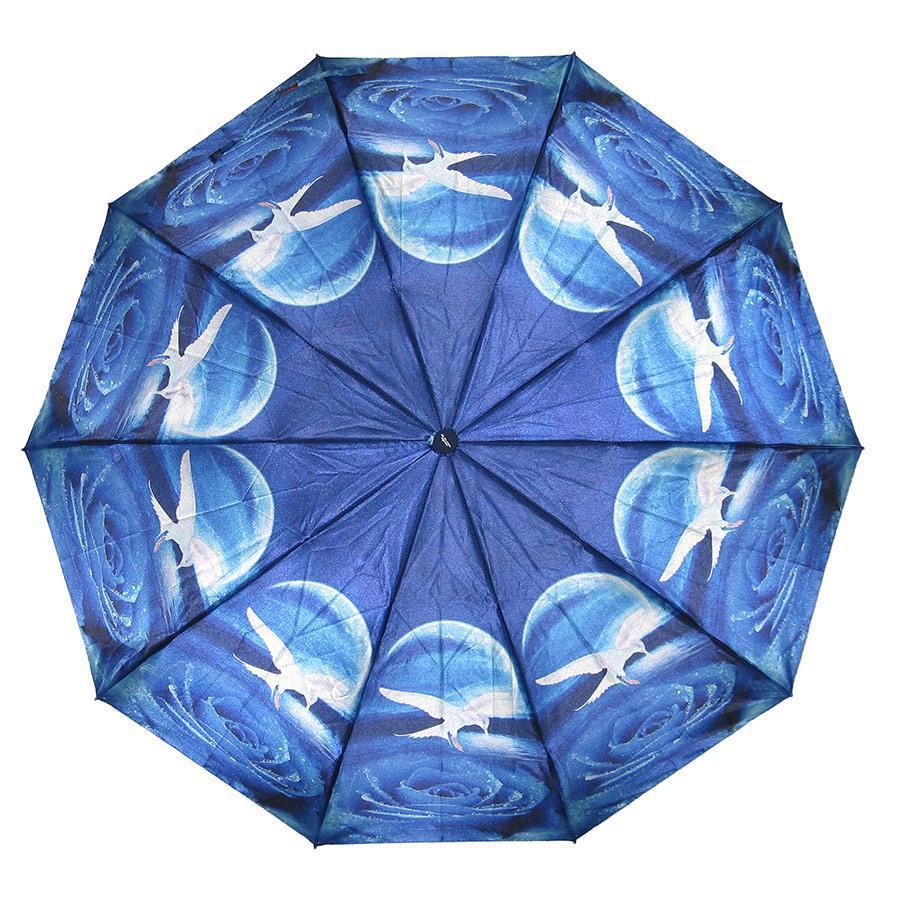 Зонт складаний автомат Синій з чайками