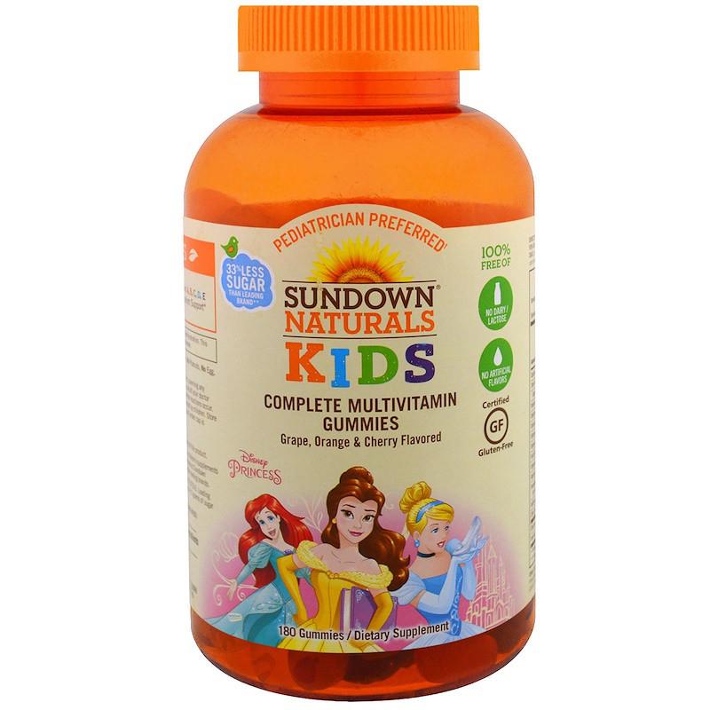 Sundown Naturals, Дети, полный мультивитаминный жевательный мармелад, принцесса Диснея, виноград, апельсин и вишня, 180 жевательных мармеладок