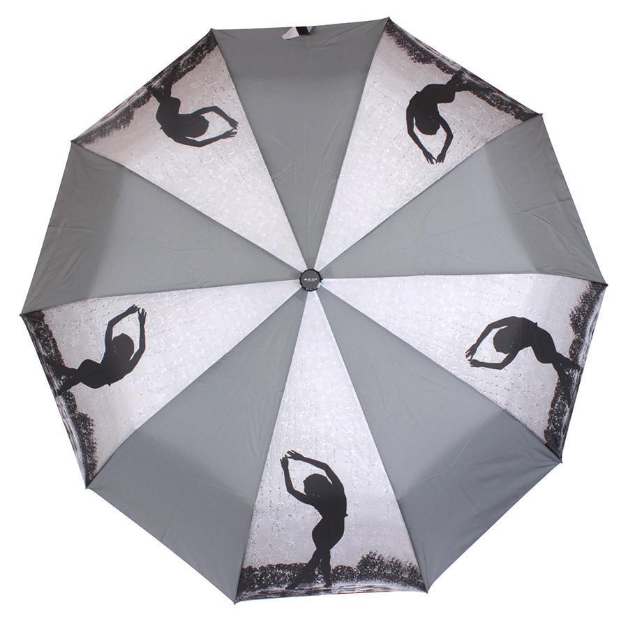 Зонт складной полуавтомат Серый с девушкой
